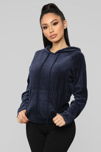 The Original Trendsetter Velour Pullover Hoodie - Navy