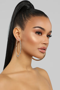 Double Shine Time Hoop Earrings - Gold Angle 2