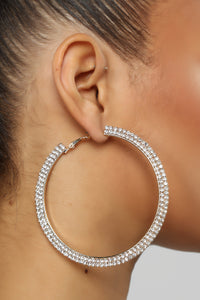 Double Shine Time Hoop Earrings - Gold Angle 1