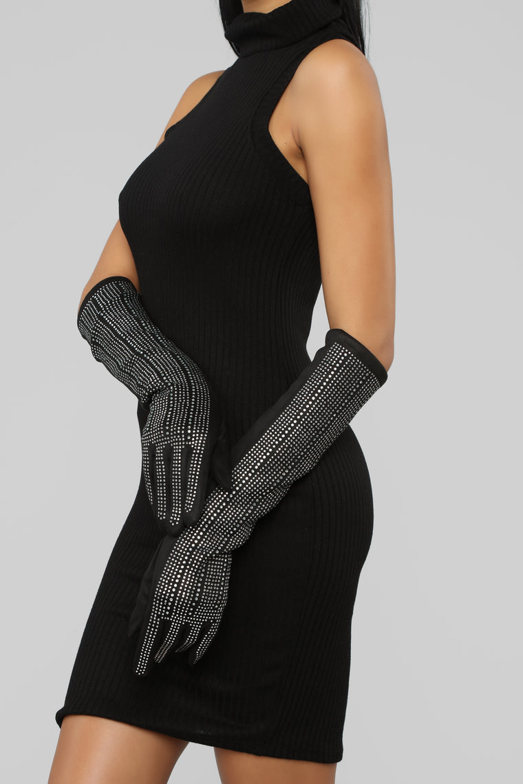 Luxe And Love Gloves - Black/Silver