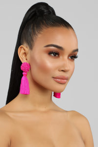 Tassel No hassle Earrings - Neon Pink Angle 1