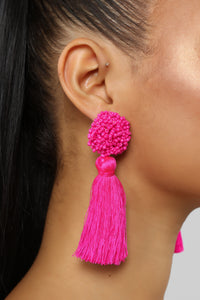 Tassel No hassle Earrings - Neon Pink Angle 3