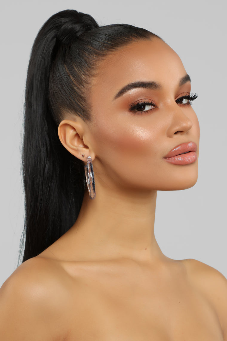 All In Glitter Hoop Earrings - Black