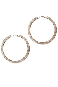 Double Shine Time Hoop Earrings - Gold Angle 3