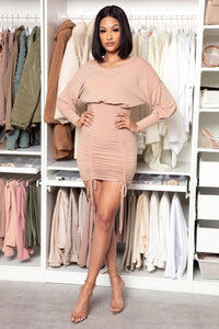 Keep It Ruched Mini Dress - Taupe Angle 1