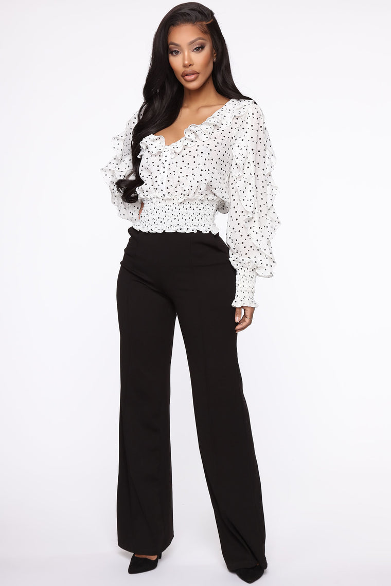 Ruffle Me Around Top - White/Black