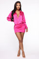 My Sidekick Satin Shirt Dress - Fuchsia