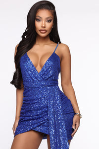 Feel The Electricity Sequin Mini Dress - Royal Angle 1