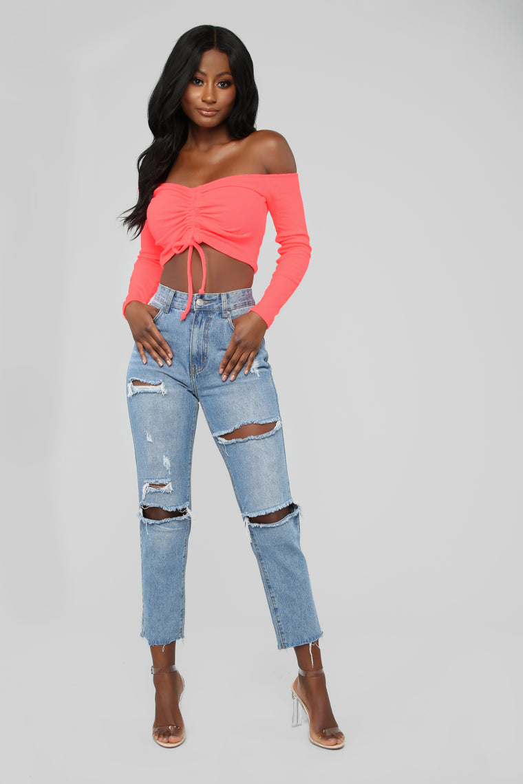 Mind Your Own Cropped Top - Neon Coral