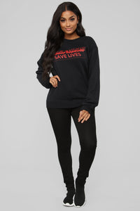 Thick Thighs Save Lives Sweatshirt - Black/Red Angle 3