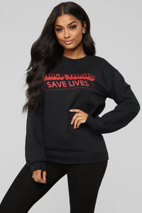 Thick Thighs Save Lives Sweatshirt - Black/Red Angle 1