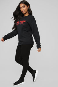 Thick Thighs Save Lives Sweatshirt - Black/Red Angle 4