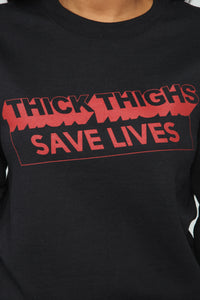 Thick Thighs Save Lives Sweatshirt - Black/Red Angle 2