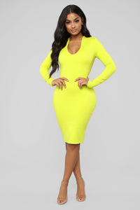 Very Bright Mini Dress - Lime