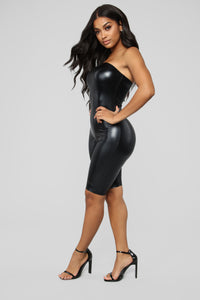 Faux The Money PU Biker Romper - Black