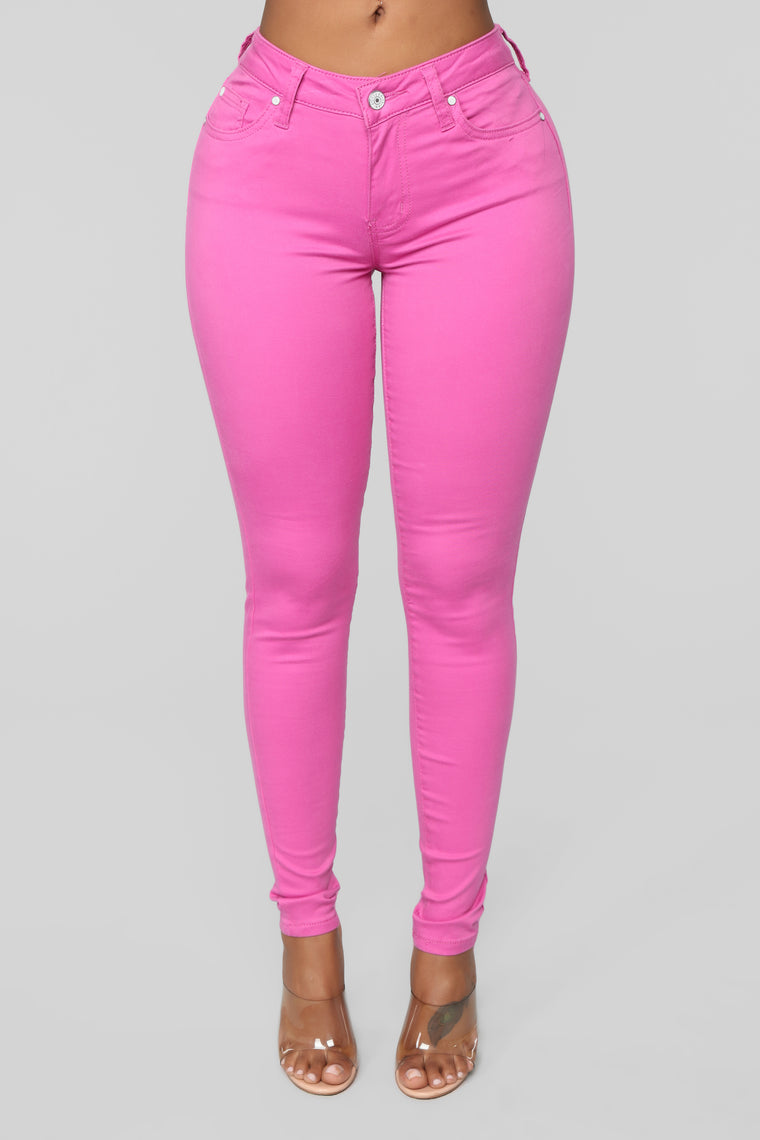 My Lucky Charm Stretch Skinny Jeans   Fuchsia by Fashion Nova
