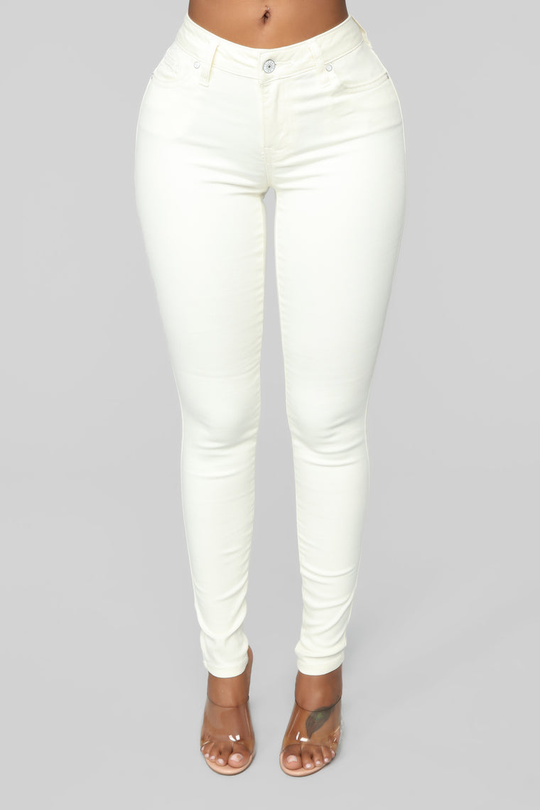 My Lucky Charm Stretch Skinny Jeans   White by Fashion Nova