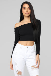 Moments After One Shoulder Top - Black Angle 1