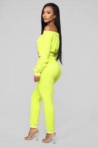 Jogging Around Pant Set - Neon Yellow