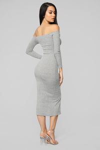 Off To Carolina Ribbed Midi Dress - Heather Grey