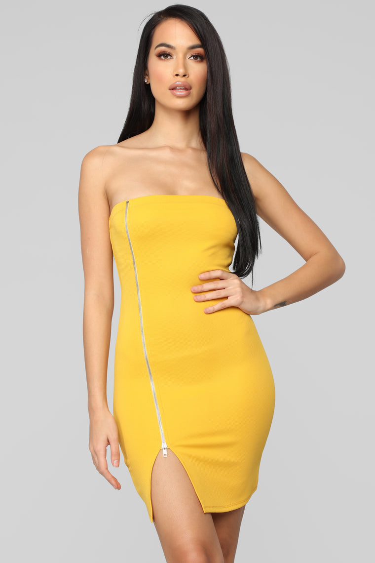 Don't Forget Me Tube Dress - Yellow