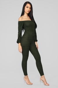 Keep It Up Off Shoulder Jumpsuit - Olive