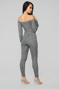 Keep It Up Off Shoulder Jumpsuit - Heather Grey