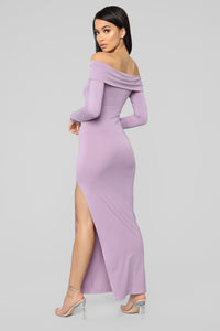 Gentle Kisses Off Shoulder Midi Dress - Lavender