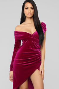 Making Headlines Velvet Dress - Purple