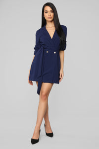 Too Busy For You Blazer Dress - Navy