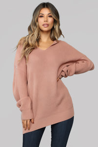 Own It Hooded Sweater - Rose Angle 1