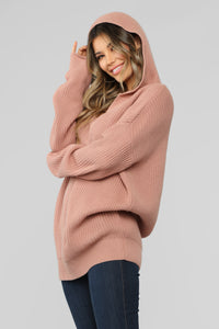 Own It Hooded Sweater - Rose Angle 3