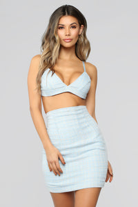 Suited For You Tweed 3 Piece Set - Baby Blue