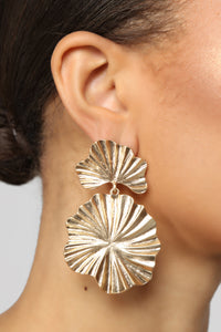 Texture Back Earrings - Gold Angle 2