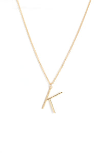 "Wrote Me A Letter ""K"" Necklace - Gold"