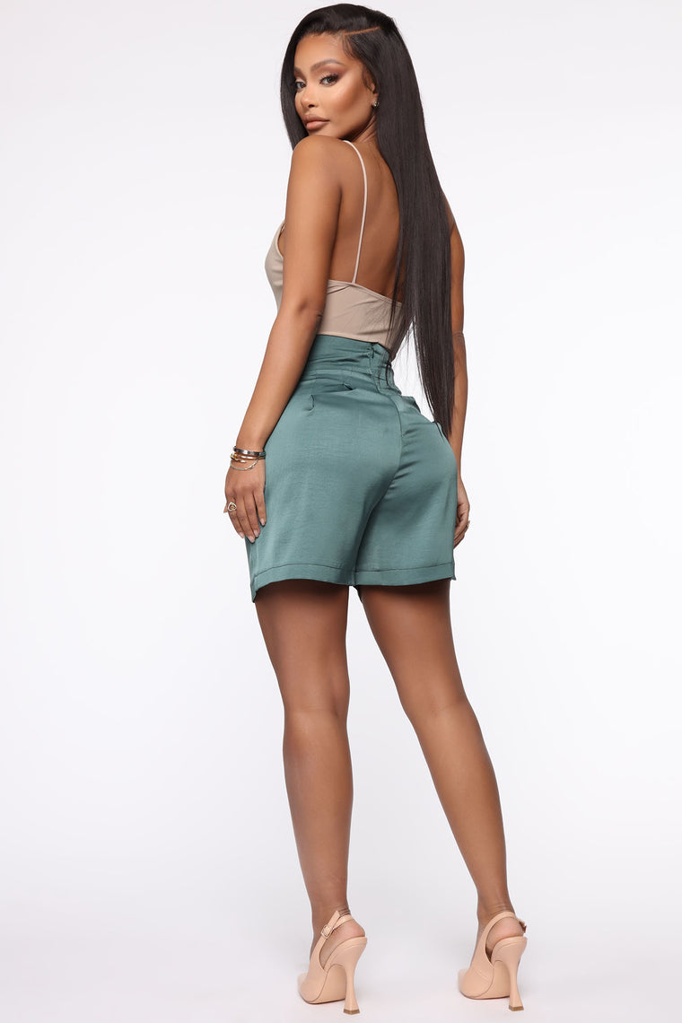 Always In Business Satin Short - Olive