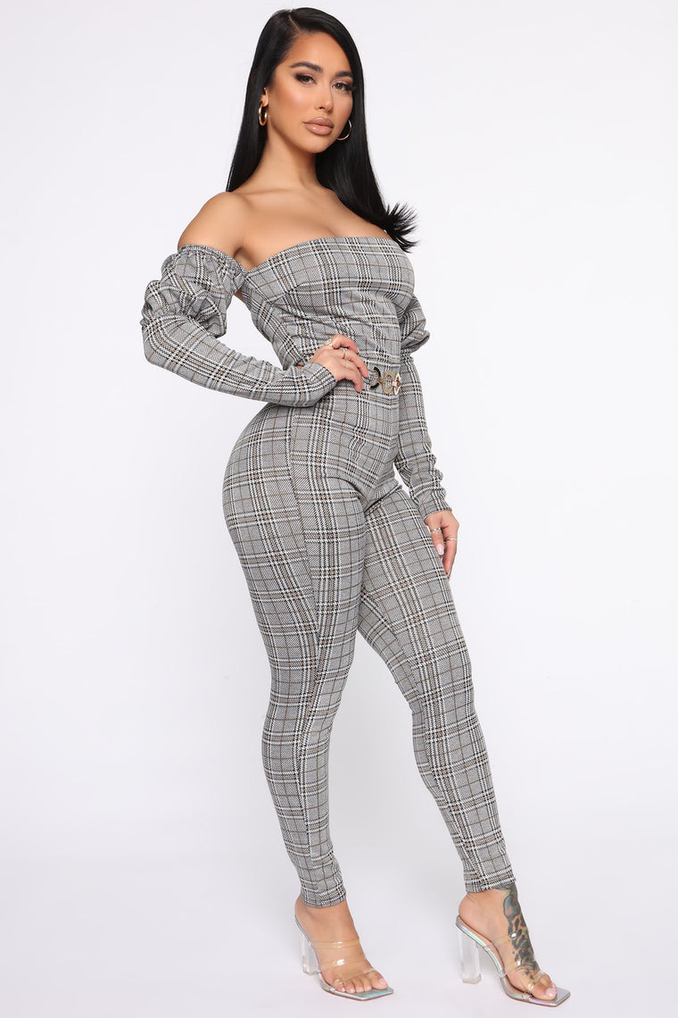 Never Been Plaid Jumpsuit - Black/White