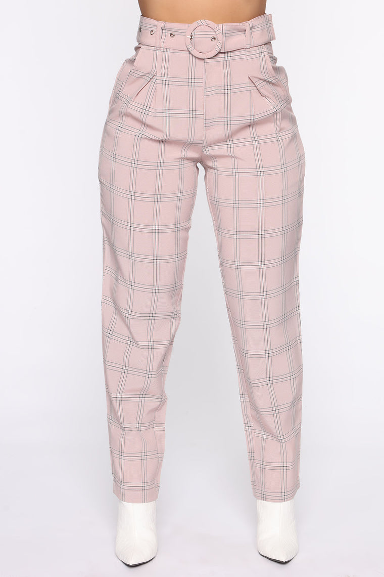 Don't Have Me Waiting Plaid Pant - Coral/combo