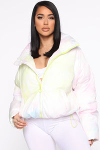 In A Puff Tie Dye Puffer Jacket - Multi Color