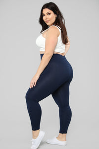 Basically It High Rise Leggings - Navy