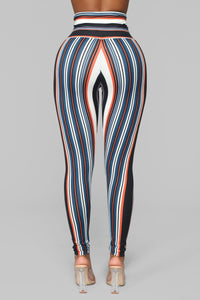 Stripe It Away Leggings - Orange/combo