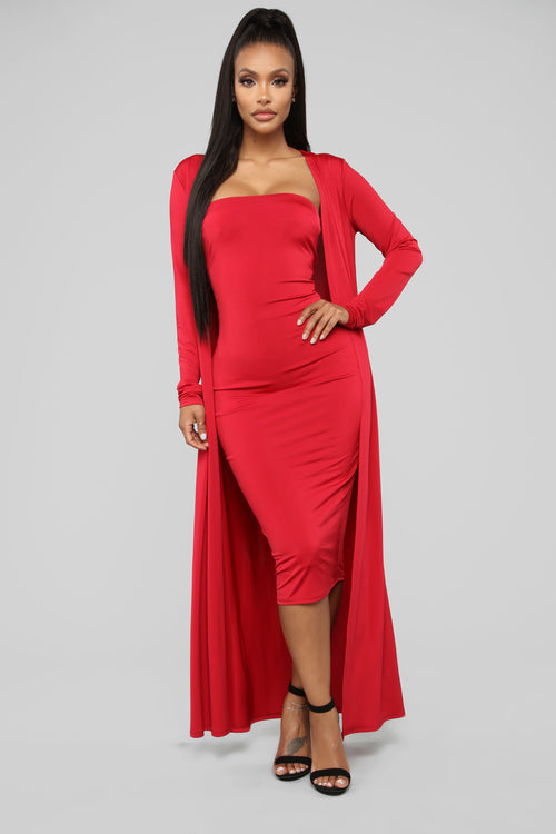 Still Fallin' For Him Dress Set - Red