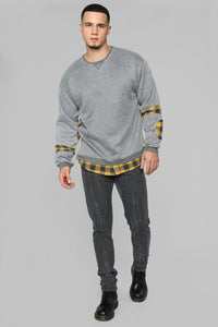 Will Flannel Pullover - Grey/Yellow