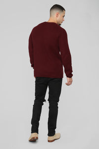 Oren Crewneck Sweater - Burgundy