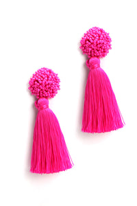 Tassel No hassle Earrings - Neon Pink Angle 4