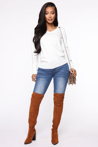 Keep It Classic V Neck Sweater - White Angle 2