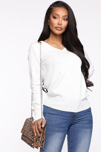 Keep It Classic V Neck Sweater - White Angle 1