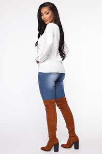 Keep It Classic V Neck Sweater - White Angle 4
