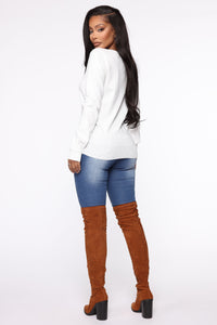 Keep It Classic V Neck Sweater - White Angle 5
