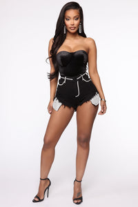 A Showstopper High Rise Denim Shorts - Black